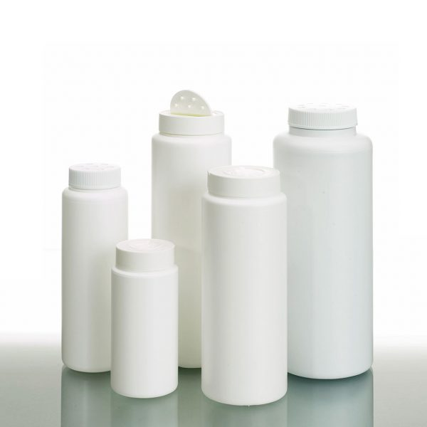 Plastic round powder bottles in different sizes