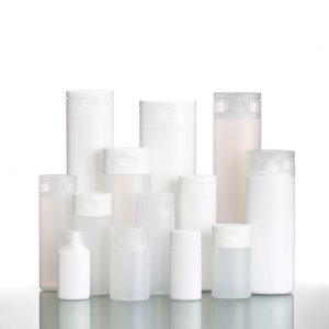 Oval plastic bottles in different sizes, snap caps - Mercury family