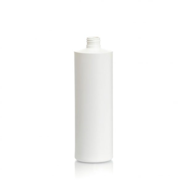Cylinder bottle in HDPE 500ml, 16oz.