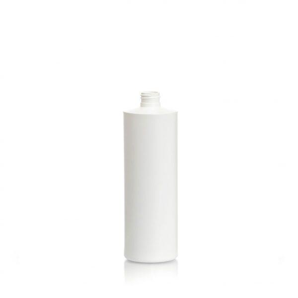 White plastic Cylinder bottle HDPE 300ml, 10oz.