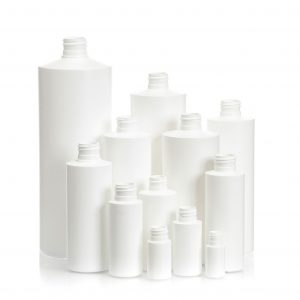 Grouping of 12 white plastic cylinder bottles in different heights and sizes