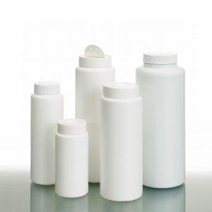 Plastic round powder bottles in different sizes