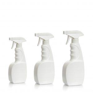 3 sizes of white plastic trigger sprayer bottles