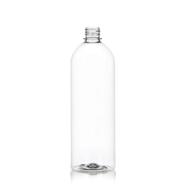 1 liter bullet-style bottle in PET with a 28-410 neck-finish